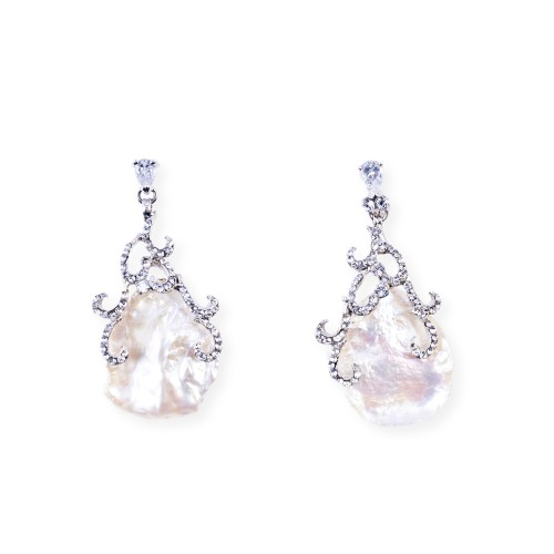 CZ (Cubic Zirconia) and Fresh Water Pearl Earrings