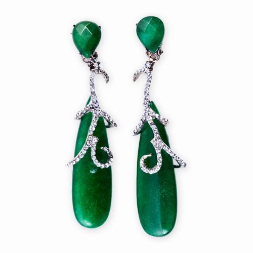 Jade and Rhinestone Drop Earrings