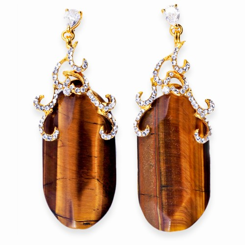 Gold, Tiger's Eye and Rhinestone Earrings