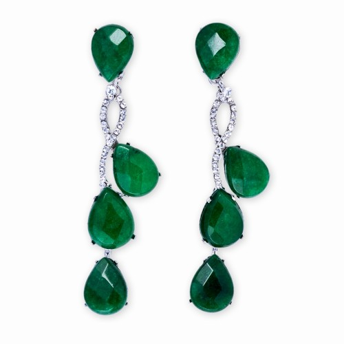 Silver, Jade and Rhinestone Drop Earrings