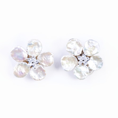 Keshi Pearl and CZ (Cubic Zirconia) Earrings