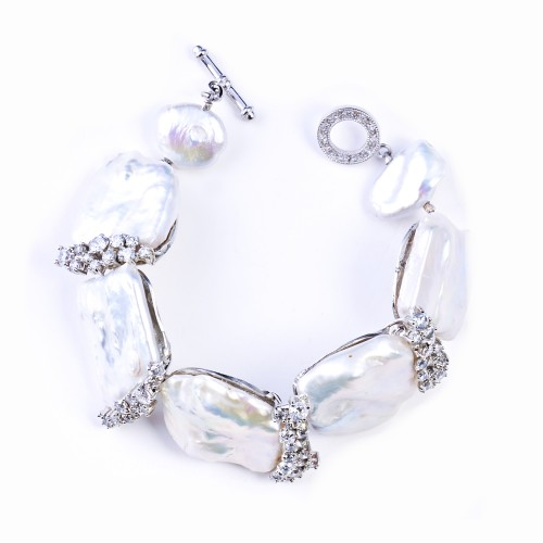 Fresh Water Pearl and CZ (Cubic Zirconia) Bracelet