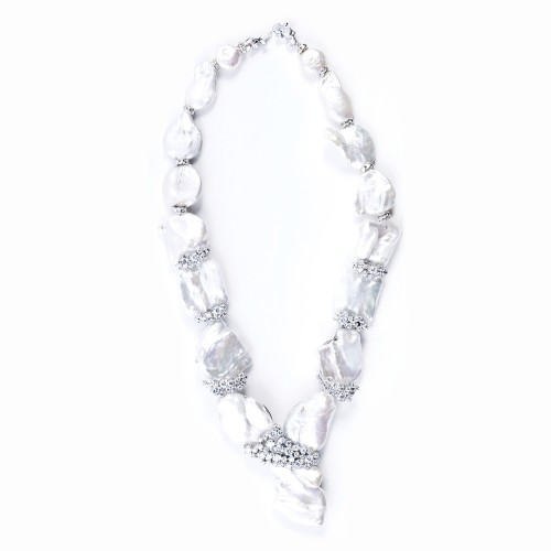 Fresh Water Pearl and CZ (Cubic Zirconia) Necklace