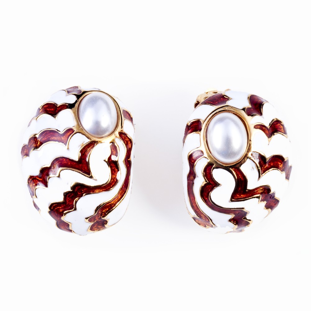 gold pearl enamel earrings