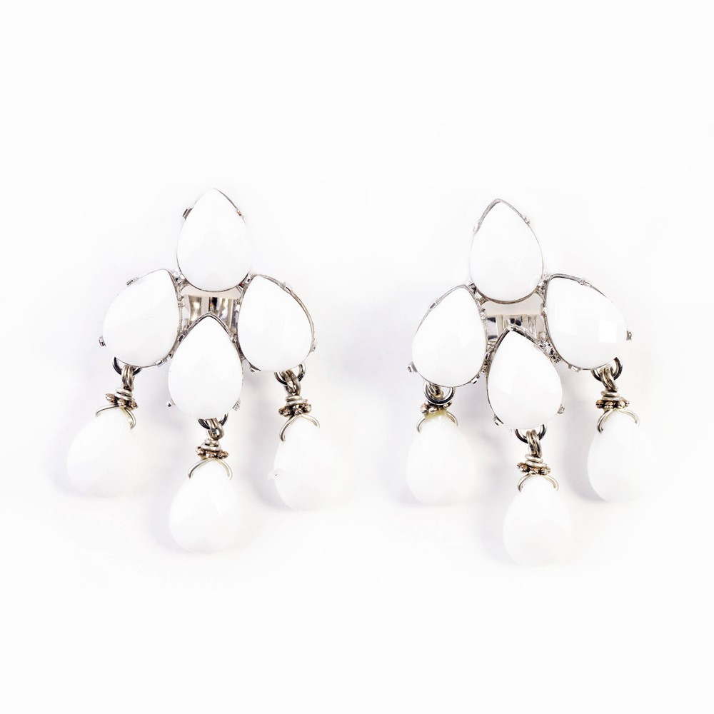Silver And White Jade Chandelier Earrings