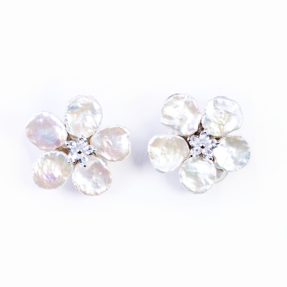 Keshi Pearl And Cz Cubic Zirconia Earrings