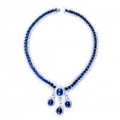 CZ (Cubic Zirconia) and Sapphire Necklace