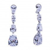 Silver and CZ (Cubic Zirconia) Four Stone Drop Earrings