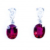 CZ (Cubic Zirconia) and Intense Pink Sapphire Earrings