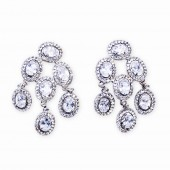 Silver, CZ (Cubic Zirconia) and Rhinestone Drop Earrings
